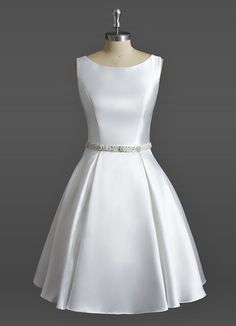 AZAZIE EMERY BG. Dress Emery BG by Azazie is a beautiful satin and tulle bridal gown featuring a scoop neckline on a knee-length A-line/princess skirt. #Bride #Wedding #CustomDresses #AZAZIE