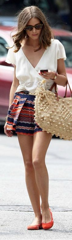 White fold blouse and printed skirt