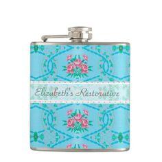 Vintage Pink and Blue Floral Wallpaper Pattern Hip Flasks