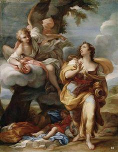 Hagar and the Angel. Victorian Paintings, Renaissance Paintings, Renaissance Art, Italian Paintings, Classic Paintings, Beautiful Paintings, Catholic Art, Religious Art, La Sainte Bible