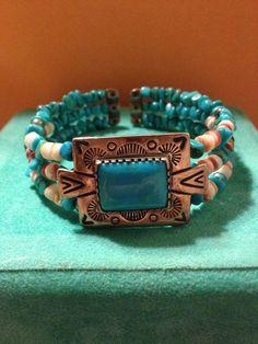 VINTAGE RELIOS Adjustable Cuff Bracelet Turquoise by BargainBitz, $60.00
