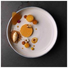 Playful dessert by Michelin starred chef Benjamin Peifer, Bees & Hives. Dish shot exclusively for FOUR © by Rene Riis Dessert Presentation, Modernist Cuisine, Dessert Dishes, Fancy Desserts, Food Places, Food Design, Plate Design, Culinary Arts, Plated Desserts