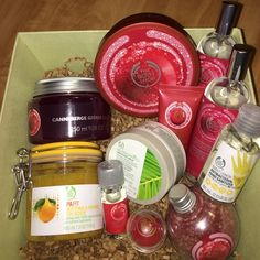 The Body Shop 11 items total!  Approximately $4.00 ea. Selling all together. ALL NEW! Frosted Cranberry: Body Butter 6.75 oz, Bath Jelly 9.08 oz, Body & Room Spray 3.3 fl oz (2), Bath Sprinkles 5.2 oz, Home Fragrance Oil .3 fl oz, Cranberry Joy: hand cream 1 fl oz, lip balm .2 oz, Spafit Smoothing & Refining Body Scrub 7.0 oz, Nutriganics Smoothing Mask 3.7 oz, Sweet Lemon Antibacterial Hand Sanitizer 2 fl oz. Box in this picture is NOT included. Retails is over $95 The Body Shop Other