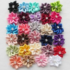 50pcs Upick satin ribbon flowers bows with Appliques Craft DIY Wedding Decor #ChenxiCraft