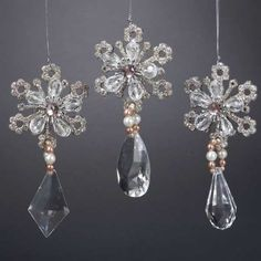 $20.00 Add sparkling snowflakes to your tree this holiday season! These silver snowflake ornaments are the perfect size. Made from acrylic snowflake and clear crystals beaded on a wire these beautiful snowflakes are sure to bring a White Christmas. 3 Assorted Styles: Diamond, Oval, and Teardrop You can also use these ornaments as fun decorations when wrapping your packages. They make great deco ... #beads #craffs #ecrafty eCrafty.com