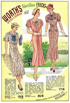 Three beautiful warm weather dresses from Worth's Spring & Summer 1937.