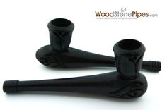"4"" Hand Carved Ebony Wood Pipe - Measures approx 4"" inches long and a 4"" ebony smoking tobacco pipe."