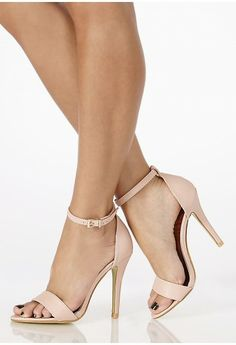 Zara nude leather ankle strap high heel sandals shoes size uk6 us8 ...