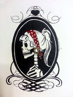 Skeleton Pinup Cameo by MarzCreations on Etsy