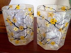 Custom hand painted votive holders from Sparky's Stained Glass Art on Etsy. (Master Bedroom)