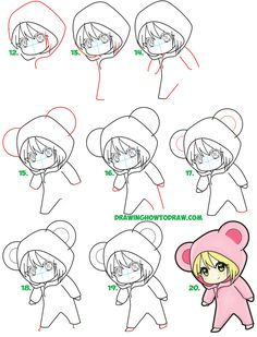 Learn How to Draw a Cute Chibi Girl Dressed in a Hooded Bear Onesie Costume with Easy Steps Drawing Lesson for Kids Chibi Girl Drawings, Cartoon Drawings Of Animals, Princess Drawings, Kawaii Drawings, Cute Drawings, Drawing Videos For Kids, Easy Drawings For Beginners, Drawing Lessons For Kids, Easy Drawings For Kids