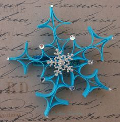 Snowflake Ribbon Sculpture Turquoise by CreativeFinishesBows