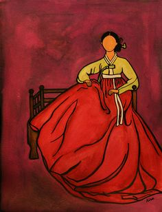 Woman in Hanbok No. 3 (2008)  9x12 watercolor and acrylic on paper  Sold at Harvard Art Show