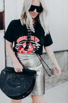 Rolling Stones T-shirt and metallic zipper skirt Graphic Tee Style, Graphic Tees, Blogger Help, Rolling Stones, Casual Looks, Metallic, Zipper, Skirts, T Shirt