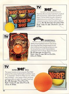 1977 Parker Brothers Catalog Page 36 - Nerf Ball, Super Nerf Ball, and Nerfoop the Nerf basketball hoop. by JasonLiebig, via Flickr