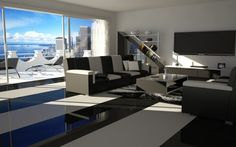 slographic_black white living room
