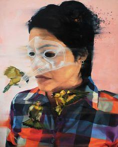 """Beautiful paintings from Jade Rivera at http://jadeuno.com/ """"Drama"""""""