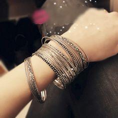 Retro jewelry wholesale multi-layered flowers fashion bracelet , shop at Costwe.com