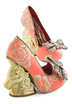 Moments of Magic Heel in Coral by Irregular Choice - High, Woven, Mixed Media, Gold, Floral, Bows, Special Occasion, Party, Holiday Party, Statement, Quirky, Best, Wedge, Critters, Coral, Variation