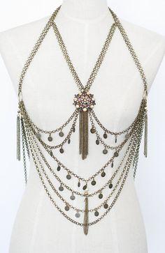 Boho Body Chain Harness Tribal Fusion Body chain by Gekajewellery