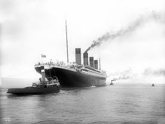 The Titanic leaves Belfast, April 1912.