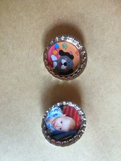 Up cycled personalised bottle cap magnets