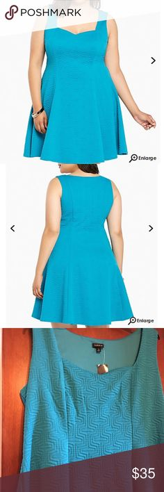 NWT torrid size 3 textured fluted skater dress NWT torrid size 3 textured fluted skater dress.  Caution: major curves ahead! This dress was made to love you with a va-va voom textured turquoise knit that's boosted by figure-flattering fluted seams. A sweetheart neckline is almost NSFW. torrid Dresses