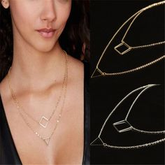 Womens Simple Jewelry Geometry Square Triangle infinity Necklace Pendant Gift #2015FashionTrendy #BarTriangleLariatNecklace