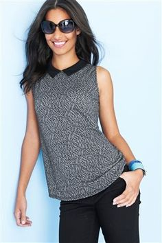 Grey Jacquard Collar Shell Top