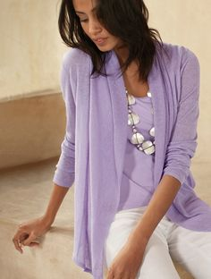 Nice ensemble from JJill love the top looks sheer very comfortable and chic love the look!
