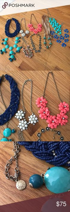 Assorted Necklaces from J. crew, Francesca's, etc. Beautiful statement necklaces! Some from J. crew and some are from boutiques. Price includes all 9. A few of them have never even been worn! J. Crew Jewelry Necklaces