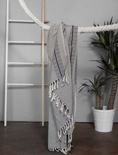 Turkish Towel Grey With Black Stripes  Eye by HandloomStore