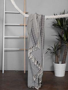 Turkish Towel Grey With Black Stripes  Eye by HandloomStore
