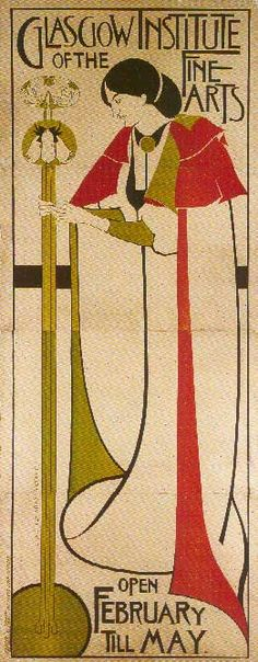 The formal, angular style incorporating Celtic symbols deployed by architect, designer and watercolourist Charles Rennie Mackintosh defined the Glasgow school, along with the Macdonald sisters and Herbert McNair. William Morris, Psychedelic Art, Charles Mackintosh, Charles Rennie Mackintosh Designs, Klimt, Glasgow School Of Art, Glasgow Girls, Art Nouveau Poster, Vase Design