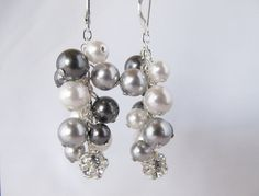 Silver Bauble Cluster Earrings with Swarovski by Saralibbey, $25.00