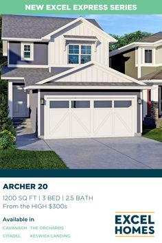New to the Excel Express series of efficient and effective home design, the Archer combines luxury and affordability in three different sizes that you and your family will love. 1200 Sq. Ft. | 3 Bedroom, 2.5 Bathroom | Starting from the HIGH $300s #NewHome #CalgaryHomeBuilder #AlbertaHome #HomeBuilder #CalgaryRealEstate 3 Bedroom Home Floor Plans, House Floor Plans, Foundation Waterproofing Membrane, Microwave In Kitchen, Concrete Driveways, Floor Layout, Luxury Vinyl Plank, Tile Installation, Front Yard Landscaping