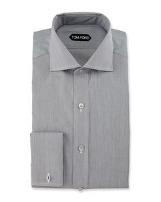 TOM FORD Fine-Stripe Dress Shirt, Black. #tomford #cloth #