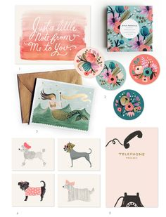 Stationary Designs from Rifle Paper.    Love this so much.  The colors are amazing. It's just really sweet and girly looking. A lot of fun to look at.