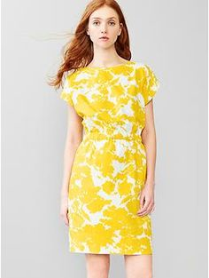 Printed boatneck dress $65  Machine wash