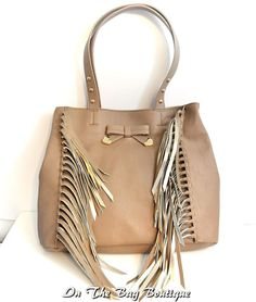 Betsey Johnson Fringe Party Brown Spice Shoulder Tote Bag Purse NWT #BetseyJohnson #SatchelCrossBodyClutch