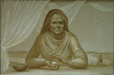 """Judith Fritchman-""""The Prophecy...Elizabeth""""    Elizabeth, the mother of John the Baptist, is shown in contemplation of the prophecy given to her husband, Zechariah, by the Angel Gabriel: In her advanced age, she would bear a child. Oil in sepia tones and white on raw linen"""