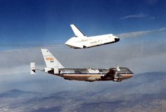 The Space Shuttle prototype Enterprise flies free of NASA's 747 Shuttle Carrier Aircraft during one of five free flights carried out at the Dryden Flight Research Facility, Edwards, California in 1977 Nasa, Cosmos, Space Shuttle Enterprise, Uss Enterprise, Photo Voyage, Universe Today, Air Space, Space And Astronomy, Space Program