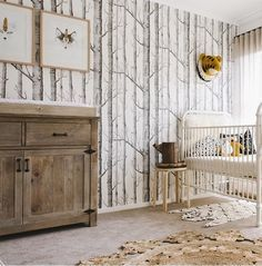 Woods wallpaper for a nature inspired gender neutral nursery