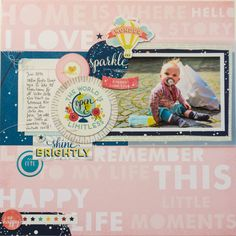 Layout by Ida Rosberg with Shimelle Starshine American Crafts Scrapbook Sketches, Scrapbook Page Layouts, Scrapbook Pages, Photographs And Memories, Photo Layouts, Baby Scrapbook, American Crafts, Layout Inspiration, First Photo