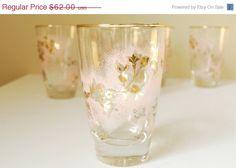 25% OFF Mid Century Barware Glasses, Pink Gold Floral Barware, Set of 8