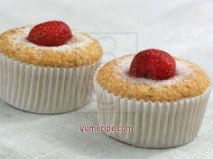 Soft banana-strawberry muffins