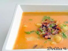 Receta Entrante : Sopa de patata y queso con bacon por Dolita