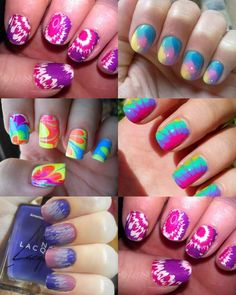 Tie-dyed nails, a girl at work taught me how to do this. I need another lesson, but I think it looks super cool. Especially on toenails! Diy Nails, Cute Nails, Pretty Nails, Colorful Nail Designs, Cute Nail Designs, Tie Dye Nails, Fingernail Designs, Happy Nails, Toe Nail Art