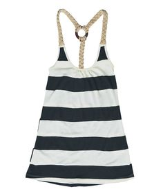 When the weather's warm, it's impossible to own too many tanks. Stand out in this oh-so-comfy striped number featuring a braided racerback construction and look stylish to boot.