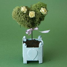 A moss covered miniature heart is trimmed and decorated to make a miniature topiary. - Photo Copyright 2011 Lesley Shepherd